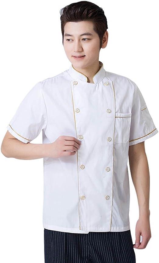 Wangjie Chaqueta de Chef Camisa de Camarero de Mangas Cortas Transpirable Suave Cómodo para Verano para Restaurante Amarillo 1XL: Amazon.es: Hogar