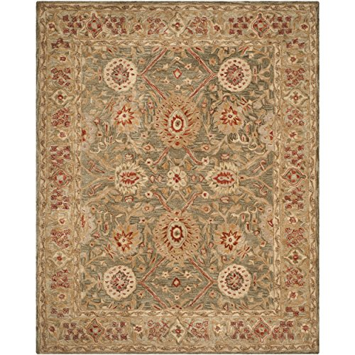 Safavieh Anatolia Collection AN516A Handmade Traditional Oriental Sage and Ivory Wool Area Rug (8' x 10')