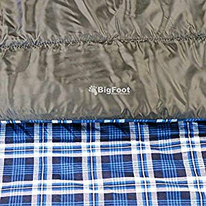 Bigfoot Outdoor Lumberjack Water Resistant Sleeping Bag - Free Stuff Sack (Blue Flannel, Double; 43 Fahrenheit; 6lbs; 300g/m2 Insulation)