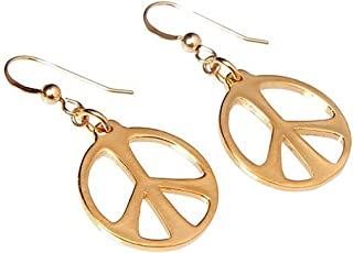 product image for Medium Peace Symbol Gold-dipped Earrings on French Hooks