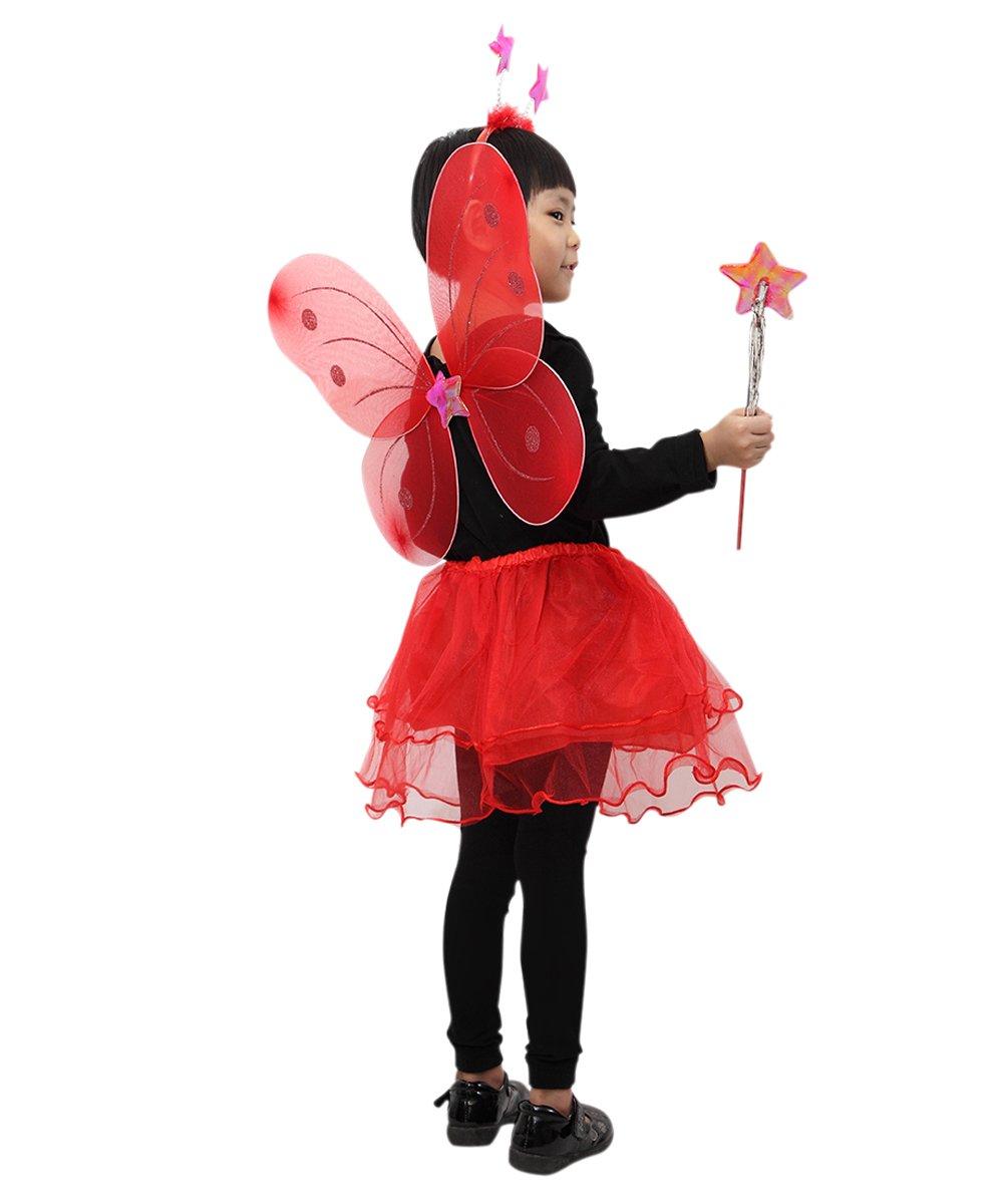 JA07 4 pieza Mariquita Disfraz de hada que consiste en alas, falda ...