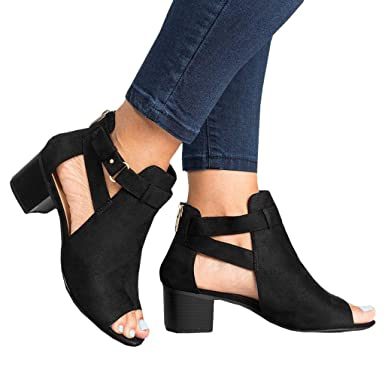 9ea73aa165d COOKI Women Sandals Low Heel Sandals Open Toe Ankle Strap Cut Out Wedge  Sandals Block Heel