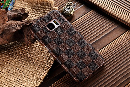 HeiL S7edge TPU (Fast US Deliver Guarantee Fulfilled by Amazon) New Elegant Luxury PU Leather Checker Pattern Classic Style Cover Case For Samsung Galaxy S7 EDGE ONLY (Brown)
