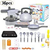 36PCS Kitchen Play Cookware Set Kids Pretend Kitchen Playset Toy Including Pot,Pan,Pressure,Induction Cooker with Sound…
