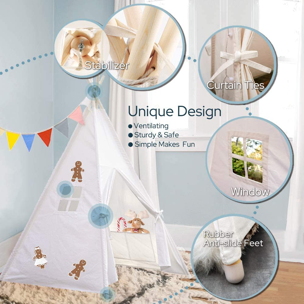 LisaSky Kids White Teepee Tent with Fairy String Light Portable Kids Tent with Carry Case White Cotton Canvas Teepee Foldable Play Tent for Indoor Outdoor