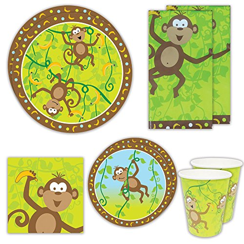 blueorchards Monkey Party Deluxe Party Packs (70+ Pieces for 16 Guests!), Monkey Baby Shower Supplies, Jungle Party Tableware - Jungle Blue Paper