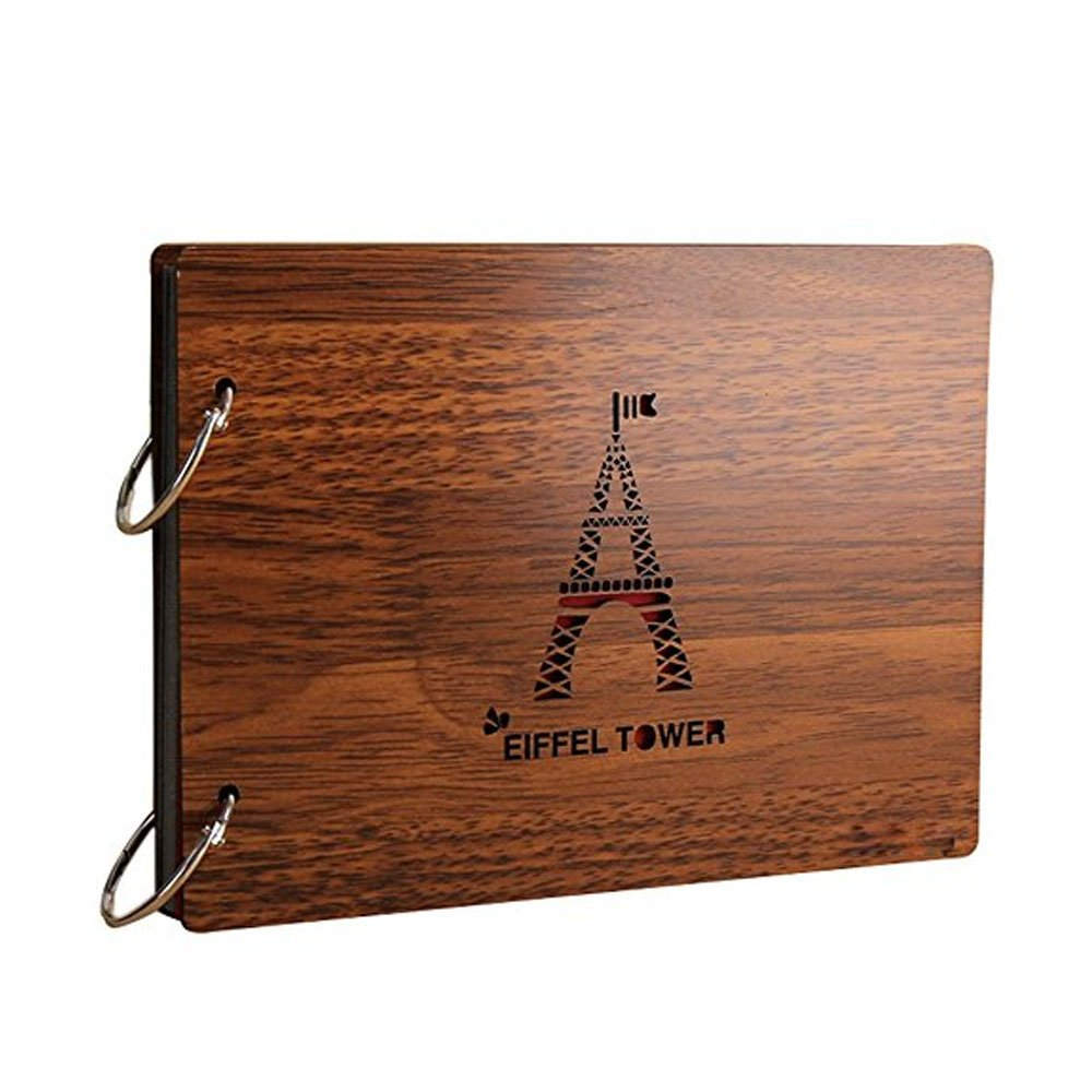 Freedom Wooden Photo Album Eiffel Tower Cover Scrapbook 8 X 6 Inches (tower)