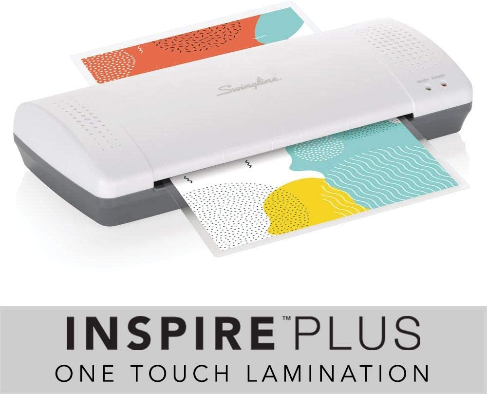 Swingline Laminator, Thermal, Inspire Plus Lamination Machine, 9 inches Max Width, Quick Warm-Up, Includes Laminating Pouches, White/Gray (1701857ECR)
