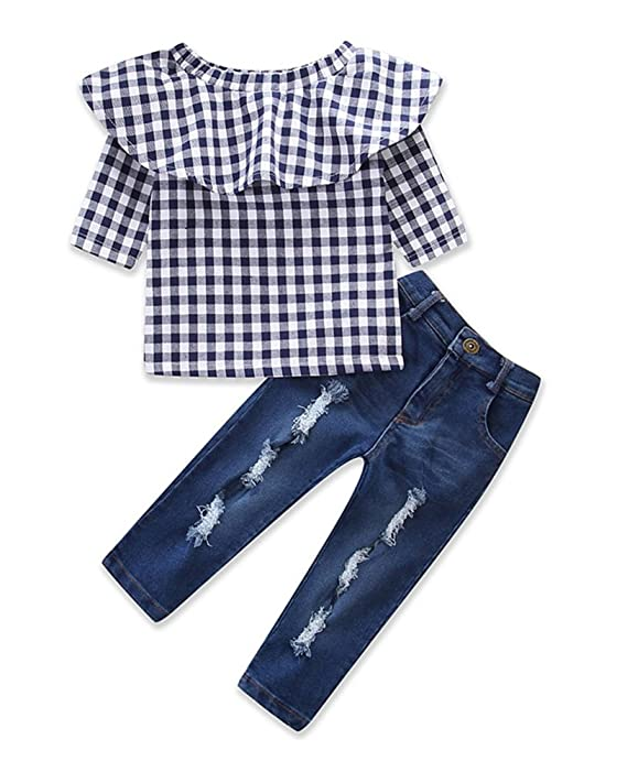 Little Girls Off Shoulder Ruffle Plaid Tops Distressed Jeans Shirts Clothes Set Dark Blue