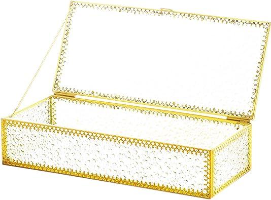 dancepandas Caja de Cristal y Metal Dorado Transparente Grande Joyero de Cristal Dorado Terrario Geométrico para Recuerdos, Joyas, Anillos, Pulsera, Organizador Dorado, Decoración para el Hogar: Amazon.es: Joyería