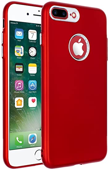 iPhone 8 Plus Case,iPhone 7 Plus Case Red,ANLI(TM) [Perfect Slim Fit]  [Light Weight] Ultra Thin Soft Touch Flexible Protective Case Back Cover  Bumper