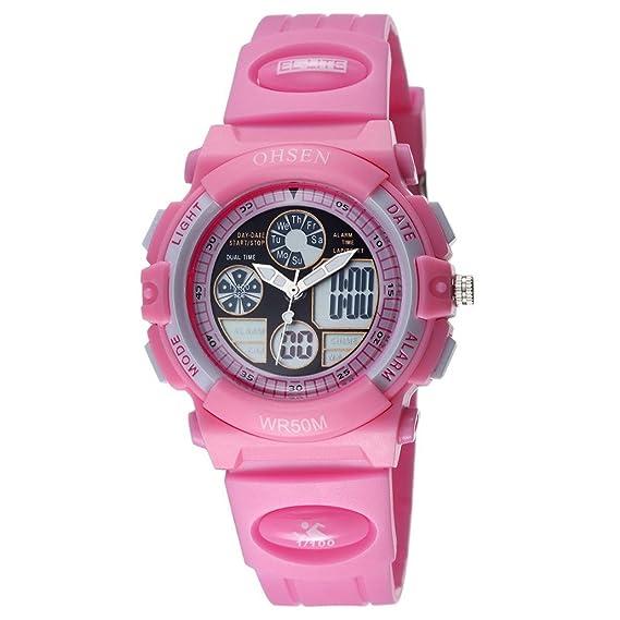 Panegy - Reloj Infantil Deportivo Cronómetro Mecánico Analógico Digital impermeable de Goma caucho para Niños niñas - rosa: Amazon.es: Relojes