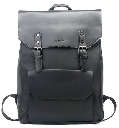 bf9708e3d57b Zebella Faux Leather Backpack Vintage Leather Black Backpack Vegan Travel  College Bookbag for Women and Men