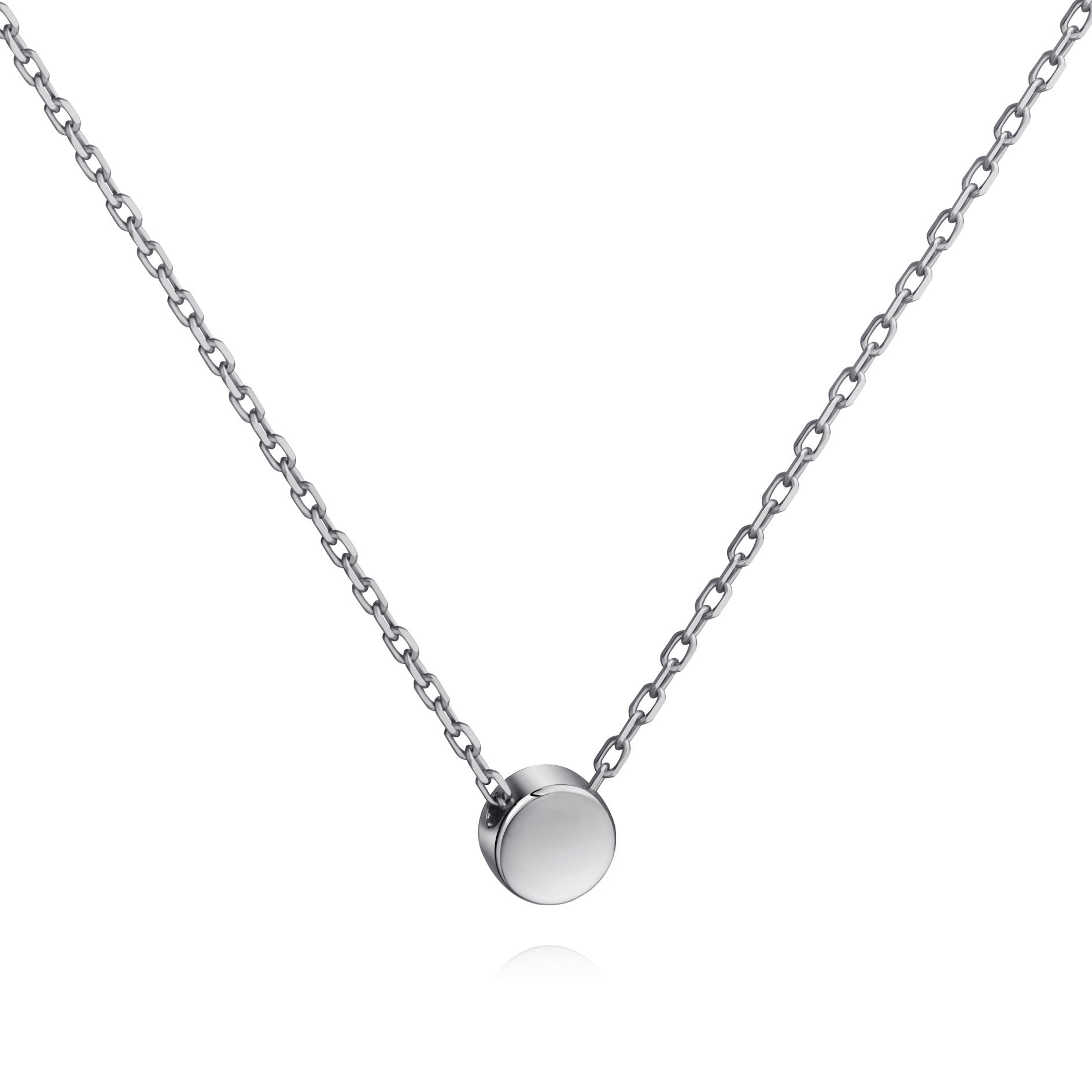 Meow Star Tiny Dot Necklace Sterling Silver Floating Disc Circle Pendant Minimalist Necklace (silver)