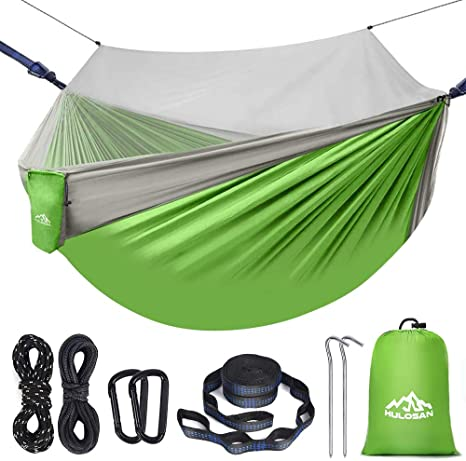 Camping Hammock with Mosquito Net 2 in 1 Ripstop Parachute Nylon Portable Hammock Set with Tree Straps /& Carabiners Bug Insect Netting Easy Assembly Lightweight Swing Bed for Outdoor Activities