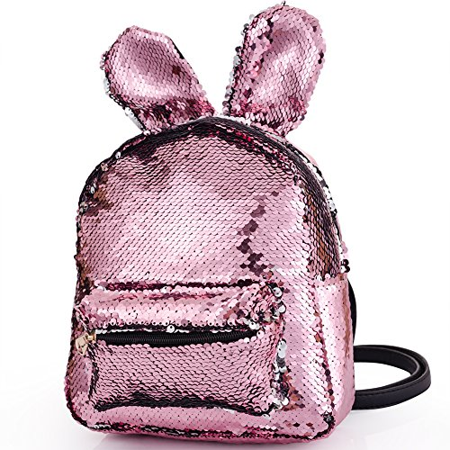 (Magic Sequins Backpack with Cute Rabbit Ear Small Fashion Flip Sequin Shoulder Bag Schoolbag Daypack Knapsack for Travel Daily Beach Women Kids Girls Birthday Gifts, Reversible Pink to Silver)