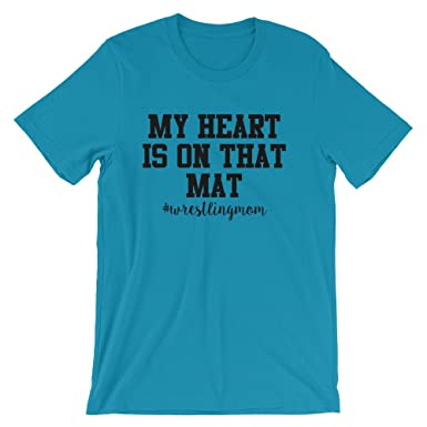 c3c885340 My Heart Is On That Mat Wrestling Mom #wrestlingmom Tee Shirt Top  Short-Sleeve Unisex T-Shirt Proud Parent Mom Wrestle at Amazon Men's  Clothing store: