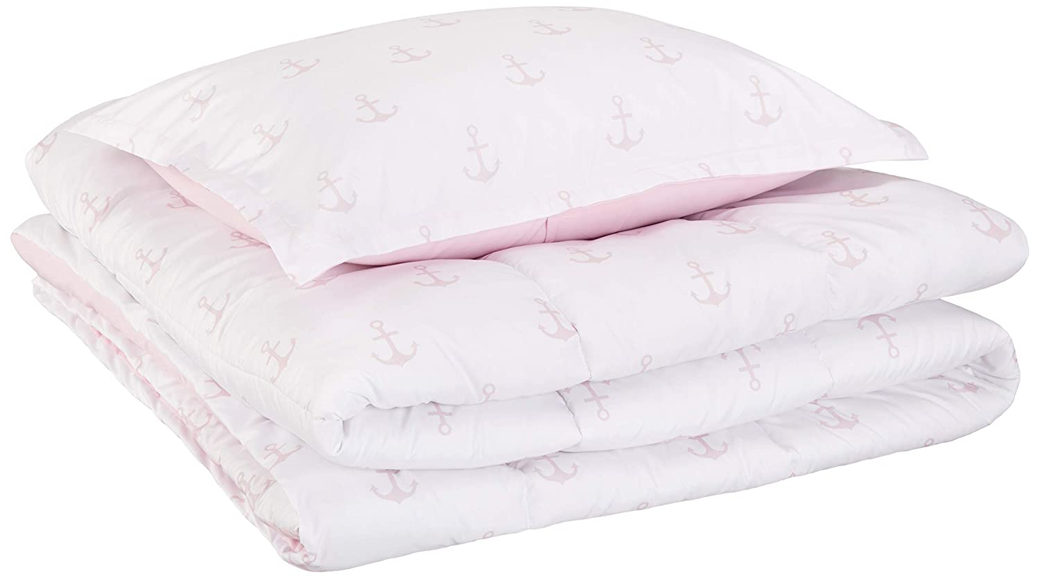 AmazonBasics Kid's Comforter Set - Soft, Easy-Wash Microfiber - Twin, Pink Anchors