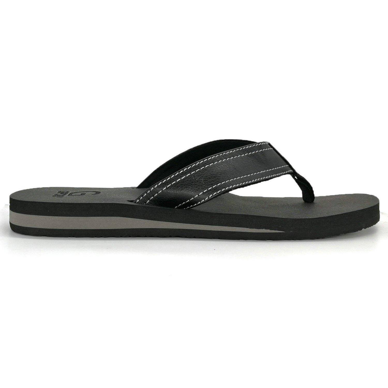 222e1a3674f41 KuaiLu Men s Yoga Mat Leather Flip Flops Thong Sandals with Arch Support