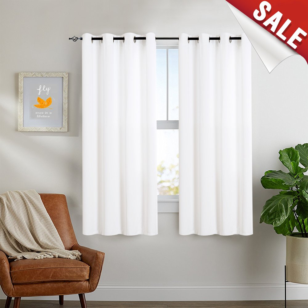 White Curtains 63 inch Bedroom Window Curtain 2 Panel Set Light Filtering  Grommet Top Living Room Drapes