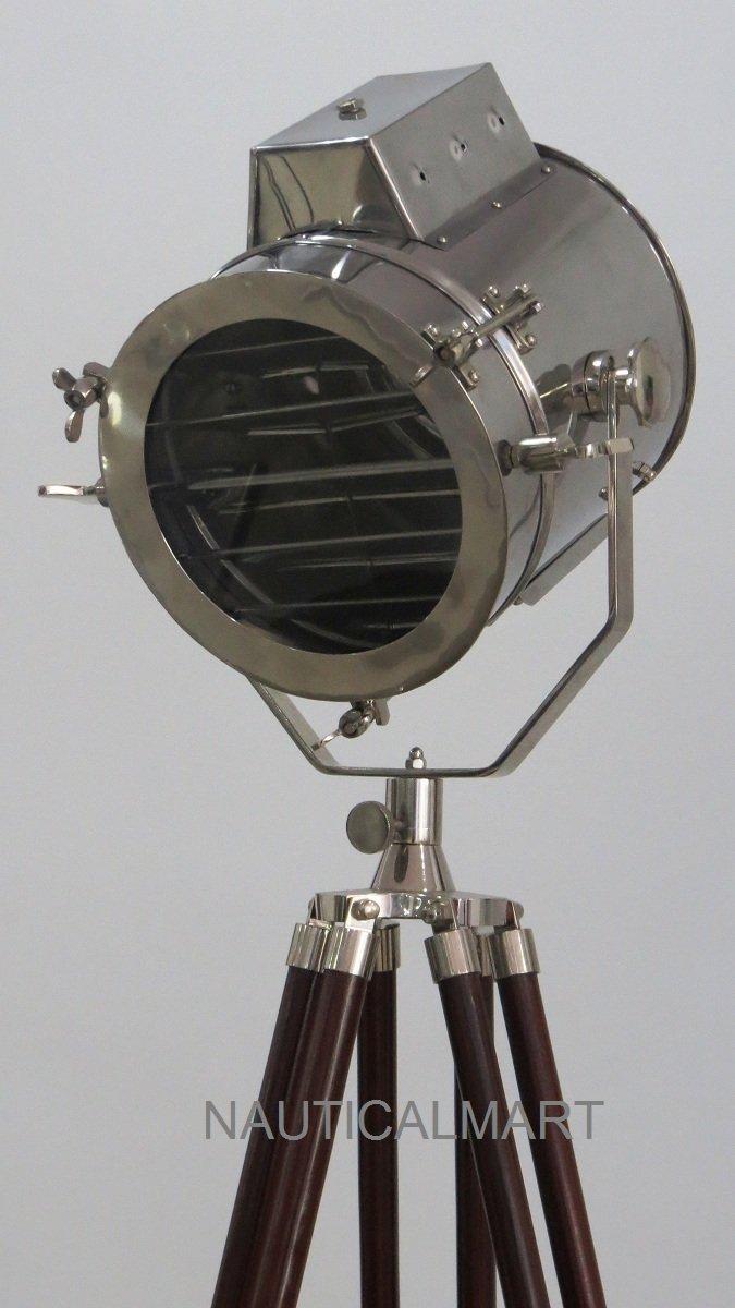NAUTICAL TRIPOD FLOOR LAMP MODERN CHROME SEARCHLIGHT