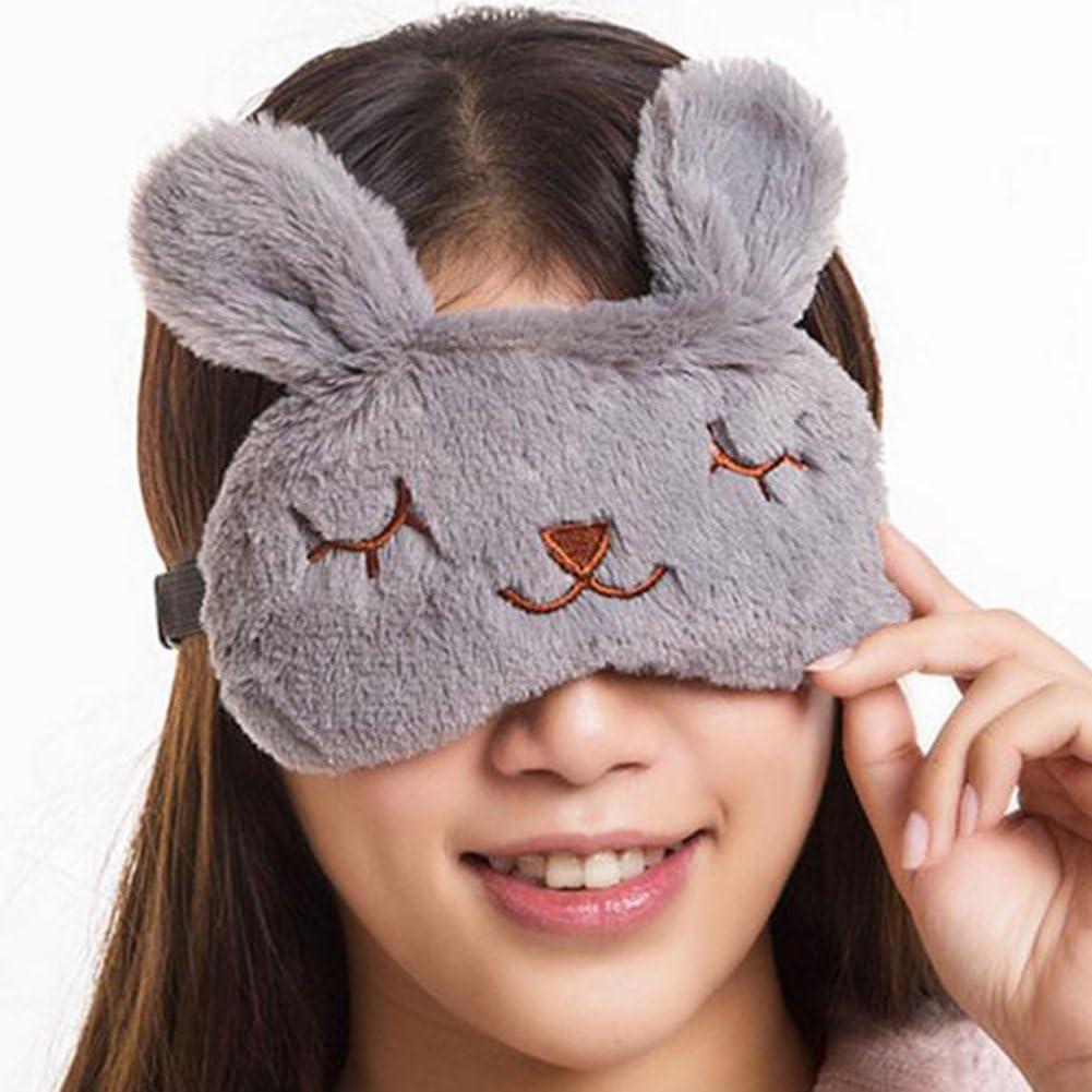 Milopon Masque de Sommeil Forme de Lapin Cache Yeux Mignon Masque de Nuit pour Dormir Voyage Anti-lumi/ère Relaxation Blanc
