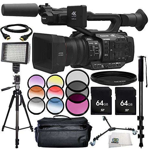 Panasonic AG-UX180 4K Premium Professional Camcorder 13PC Accessory Bundle – Includes 2x 64GB SD Memory Cards + 3 Piece Filter Kit (UV + CPL + FLD) + MORE by SSE