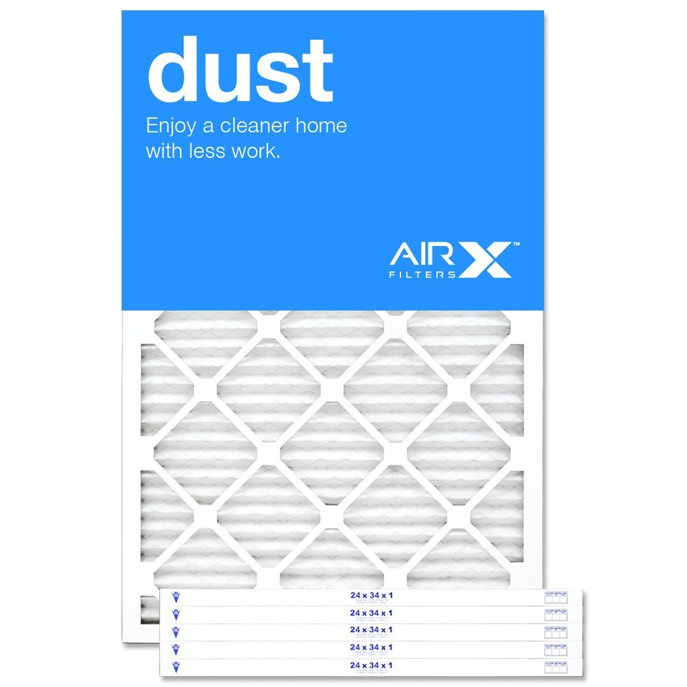 AIRx Filters Dust 24x34x1 Air Filter MERV 8 AC Furnace Pleated Air Filter Replacement Box of 6, Made in the USA