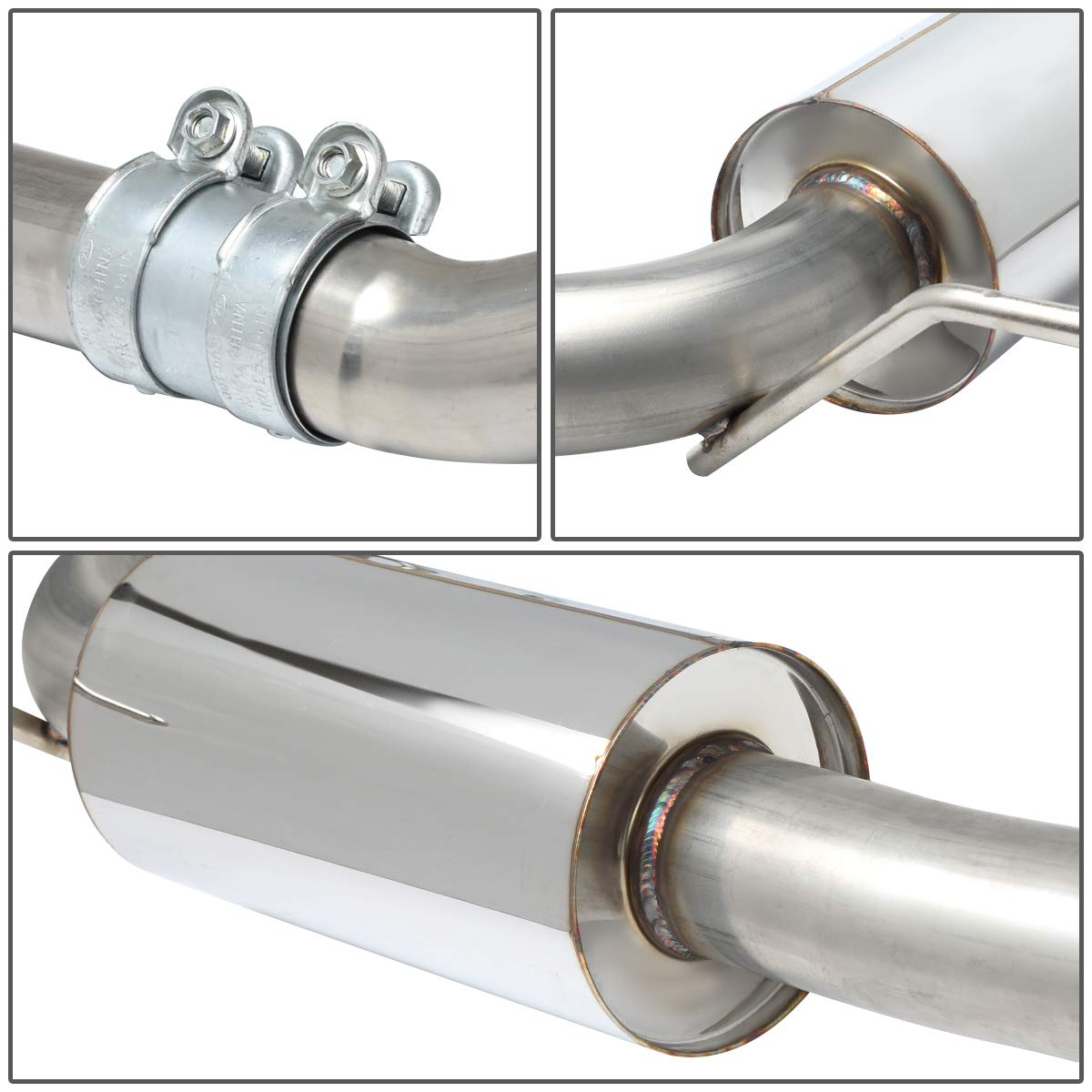 DNA Motoring CBE-AUDIA409-Q-20L Stainless Steel Cat Back Exhaust System w//3.5 Muffler Tips