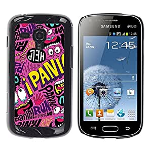 FECELL CITY // Duro Aluminio Pegatina PC Caso decorativo Funda Carcasa de Protección para Samsung Galaxy S Duos S7562 // Crazy Cartoon Text Funky Modern
