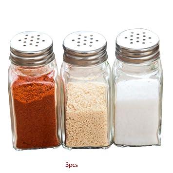 Morza Botellas de Cristal 3pcs Cocina Pequeño condimento Concisa Tanque Sellado de Sal de Chile en Polvo Gourmet: Amazon.es: Hogar