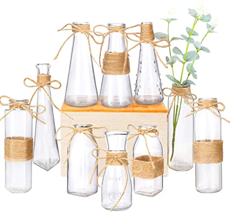 Amazon Com Nilos Glass Vases Set Of 10 Clear Glass Flower Vase With Rope Design And Differing Unique Shapes For Home Decoration Home Kitchen