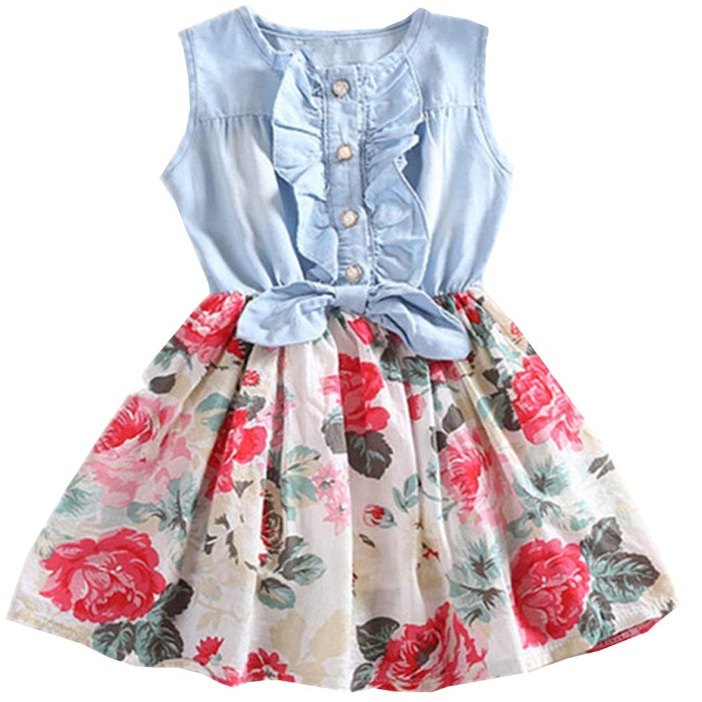 Ruogu Girl Print Skirt,Girls Denim Floral Print Sleeveless Dresses