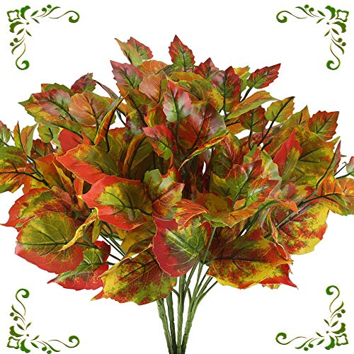 MHMJON 4pcs Artificial Plants Fake Silk Mple Leaf Bundles Fake Greenery Shrubs Leaf Arrangements Indoor Outdoor Home Kitchen Office DIY Hotel Table - Autumn Bouquet Leaf
