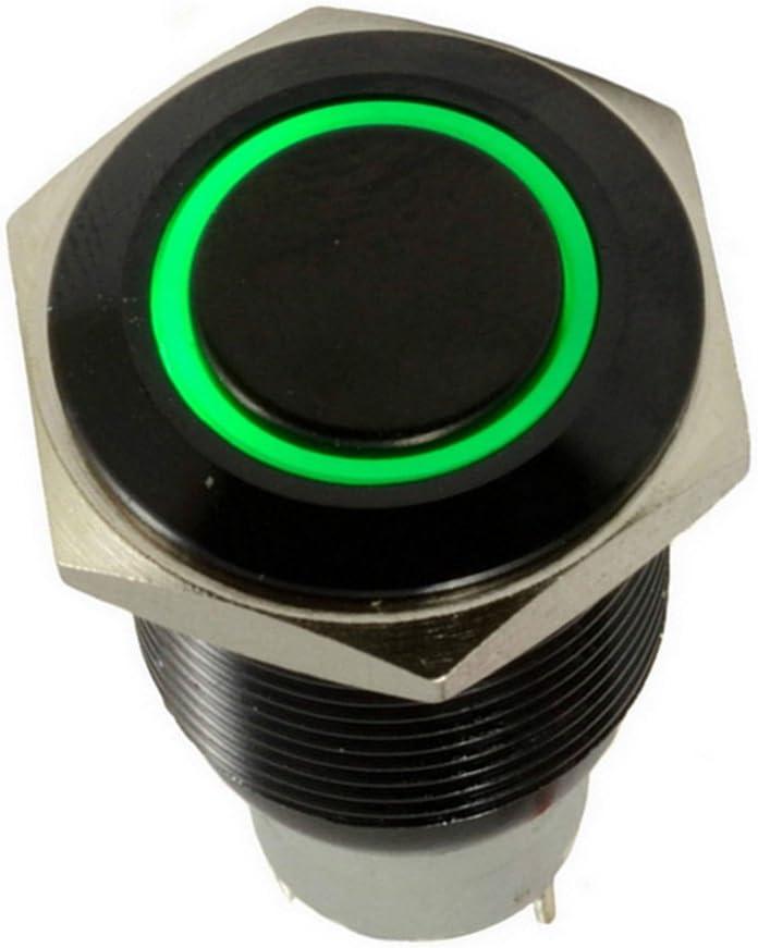Mintice/™ bo/îtier noir 16mm symbole de puissance bleu LED lumi/ère Oeil dange 12V bouton poussoir voiture interrupteur /à bascule en m/étal