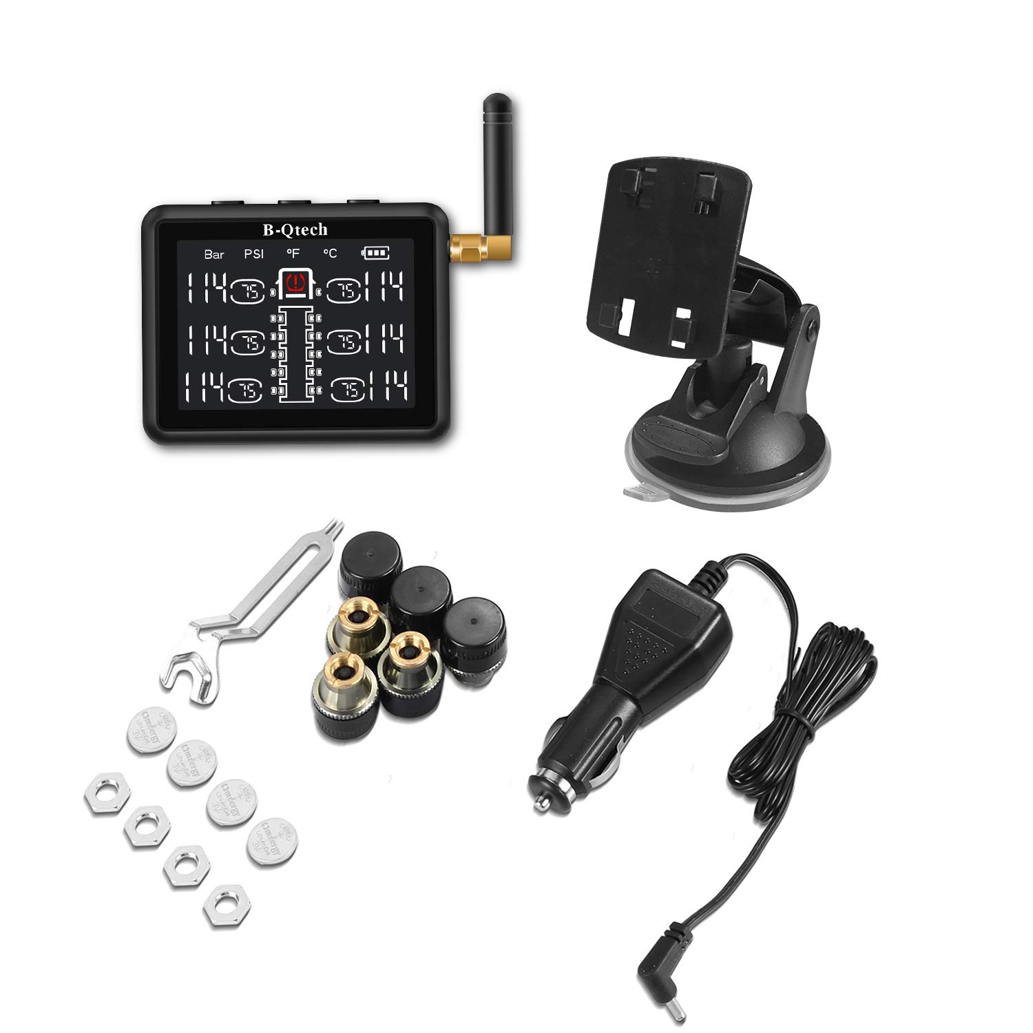 B-Qtech 3.15 inch Wireless RV Truck TPMS Tire Pressure Monitoring System with TPMS 6 Sensors for RVs MotorHomes Truck Tow Trailers Motorcoaches Bus LCD Display Support Max 22 Tyres(0~232PSI) by B-Qtech (Image #8)