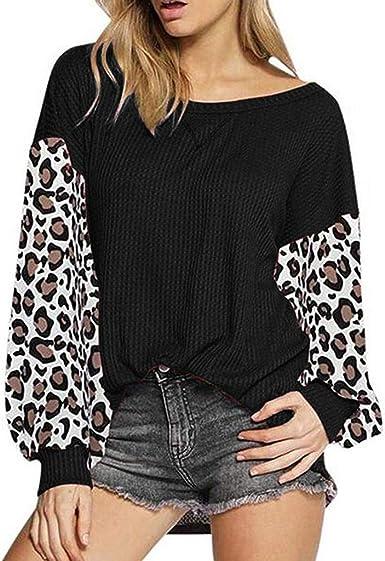 Camiseta de Manga Larga Mujer Verano Moda Leopardo Impresión Patchwork Manga Larga Blusas Camisa Cuello Redondo Sudadera Tumblr Basica Camiseta Suelto Tops Casual Fiesta T-Shirt Original vpass: Amazon.es: Ropa y accesorios