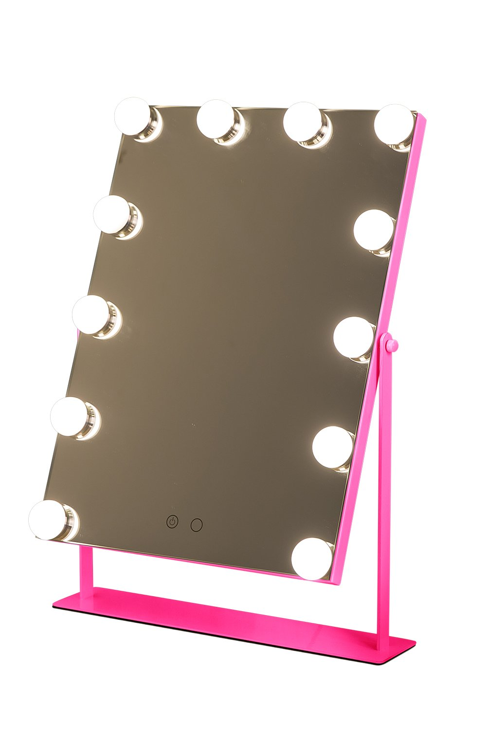 Geek-House Frameless Hollywood Tabletops Lighted Makeup Vanity Mirror (12 LED Bulb) Large with Dimmer Angle-Adjustable Pink by GeekHouse (Image #1)