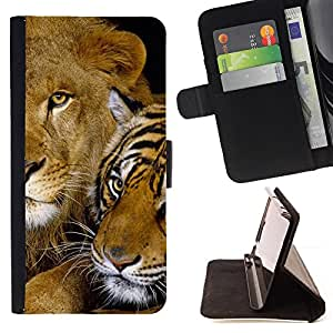 DEVIL CASE - FOR Sony Xperia M2 - Cute Baby Tiger Lion Feline Friends Africa - Style PU Leather Case Wallet Flip Stand Flap Closure Cover