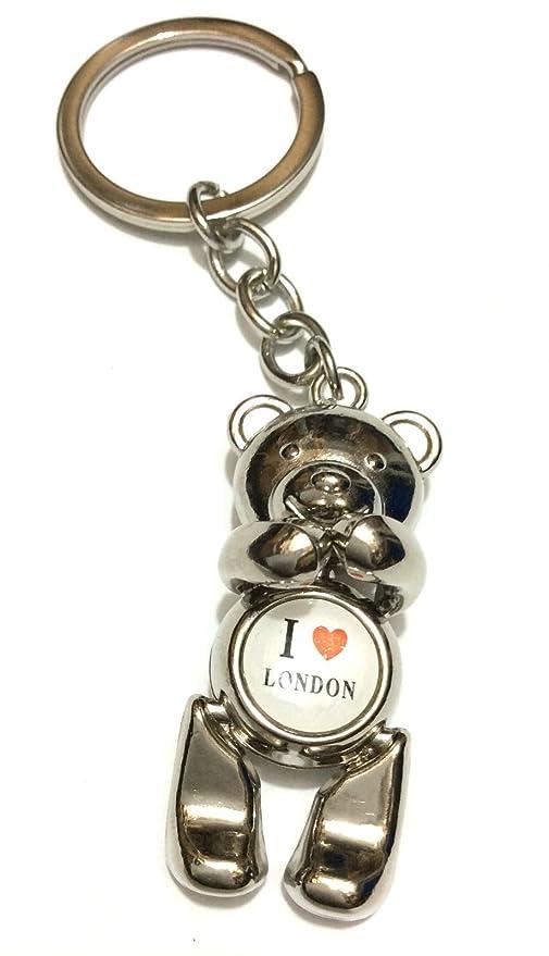 I Love London oso llavero cadena Souvenir cromo plateado ...
