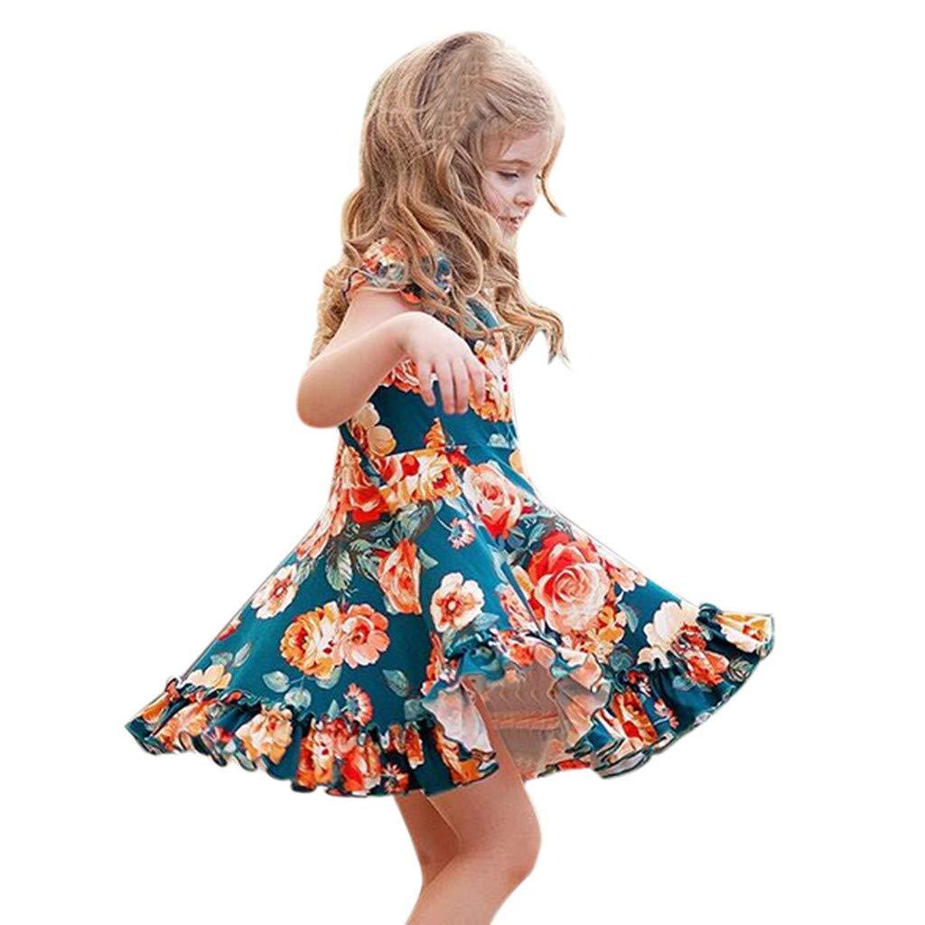 AIni M/ädchen Kleider Sommer Mode Elegant Kleinkind Baby Scherzt M/ädchen Kleider R/üschen Blumen Prinzessin Kleider Strandkleider Festlich Hochzeit Cocktailkleid Partykleid