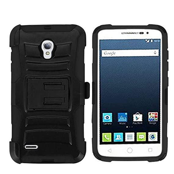 super popular 922f4 793cc PimpCase Designed for Alcatel One Touch Pop Icon 2 Case, A846L, Durable  Armor Rugged Hard Shell Silicone Interior Black Phone Cover with Kickstand  and ...
