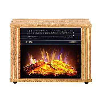 Calentador de Estufa eléctrica-Chimenea de Madera Maciza con Efecto de Llama de Fuego de leña LED.- Termostato Ajustable y protección contra ...