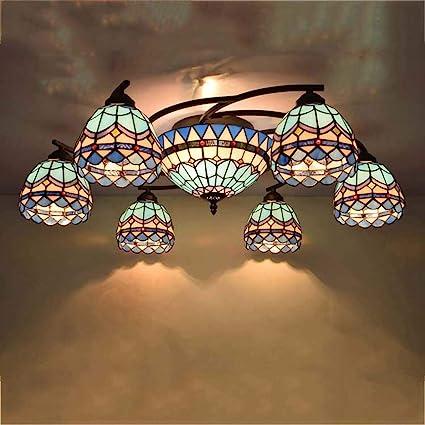 Lámpara De Techo Estilo Tiffany De 6 Cabezas, Luces ...