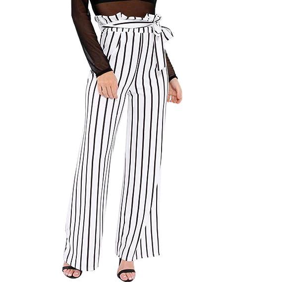 Pantalones de Rayas de Mujer,Pantalones Largos OL de Cintura Ancha, Cintura