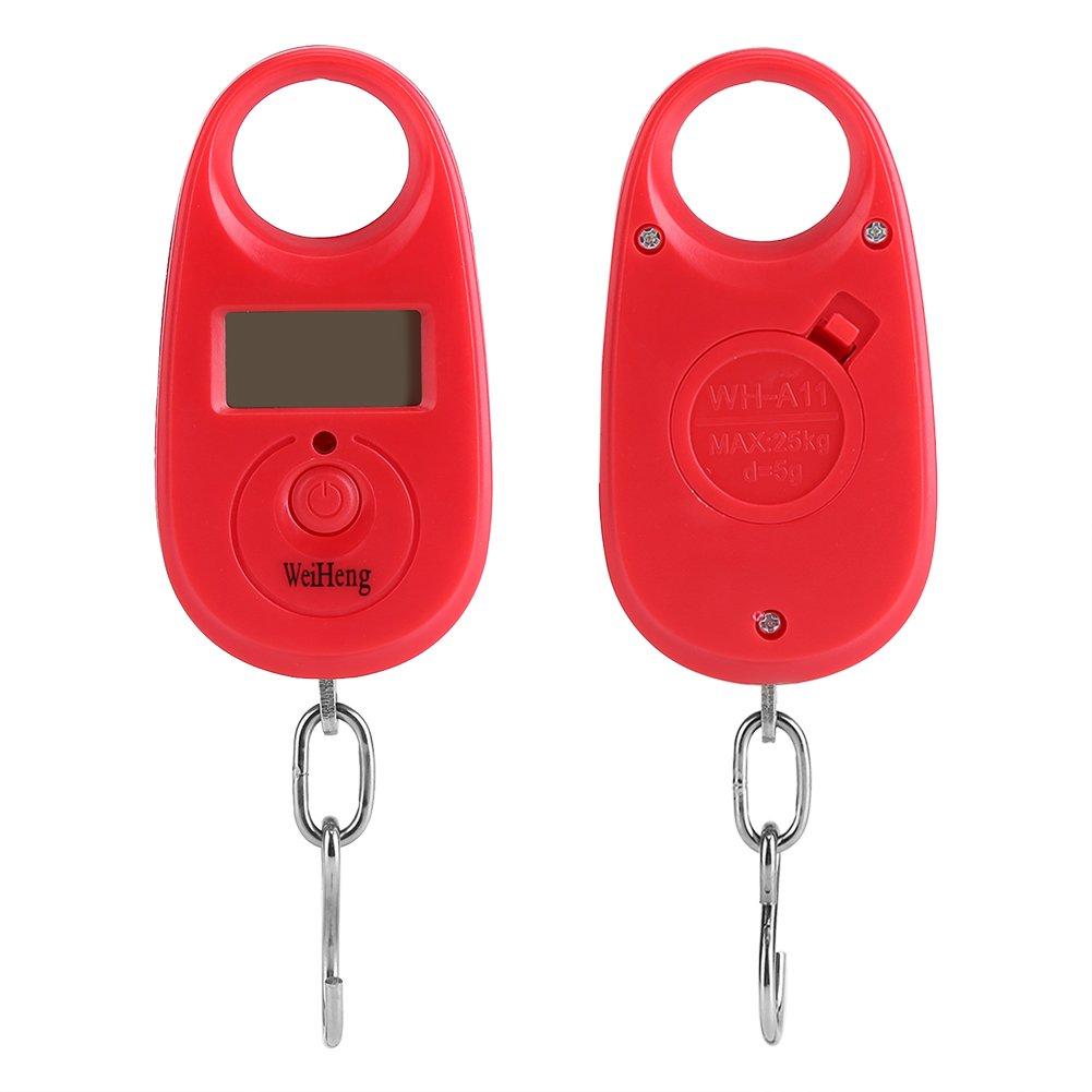 Fdit 25kg 5g Mini Balanza Colgante Digital LCD Balanza Electr/ónica de Pesaje de Equipaje con 3 Unidades Caf/é