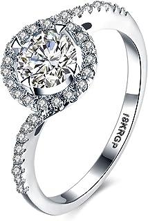 Skyllc Plaqué argent sterling et cubique anneau de mariage zircon nuptiale
