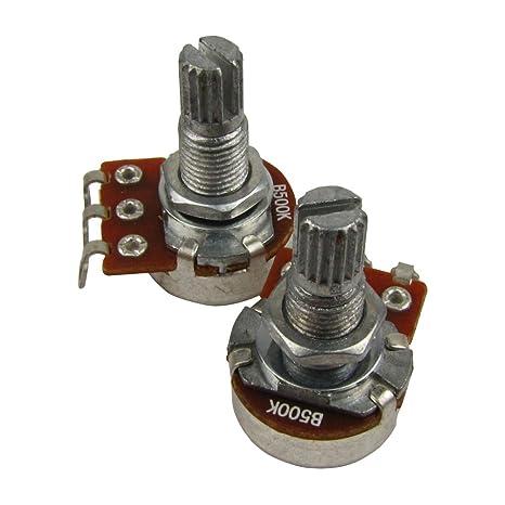 IKN 2pcs B500k L18mm Potenciómetro del tono de la guitarra del potenciómetro del mini pot del