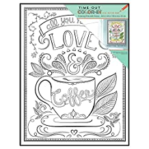 MCS Time-Out Color-In Framed Adult Coloring Page with Love and Coffee Design, Includes Format Frame, 10 by 13-Inch