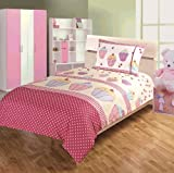 Children's Kids DOUBLE BED SIZE CUPCAKE DESIGN GIRLS DUVET COVER AND PILLOWCASE SET By Viceroybedding